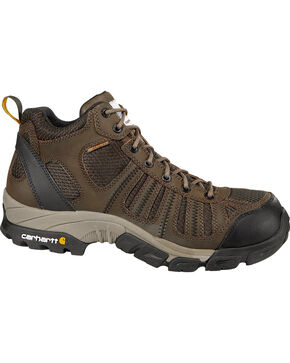 Carhartt Men's Lite Mid Waterproof Work Hiking Boots, Brown, hi-res