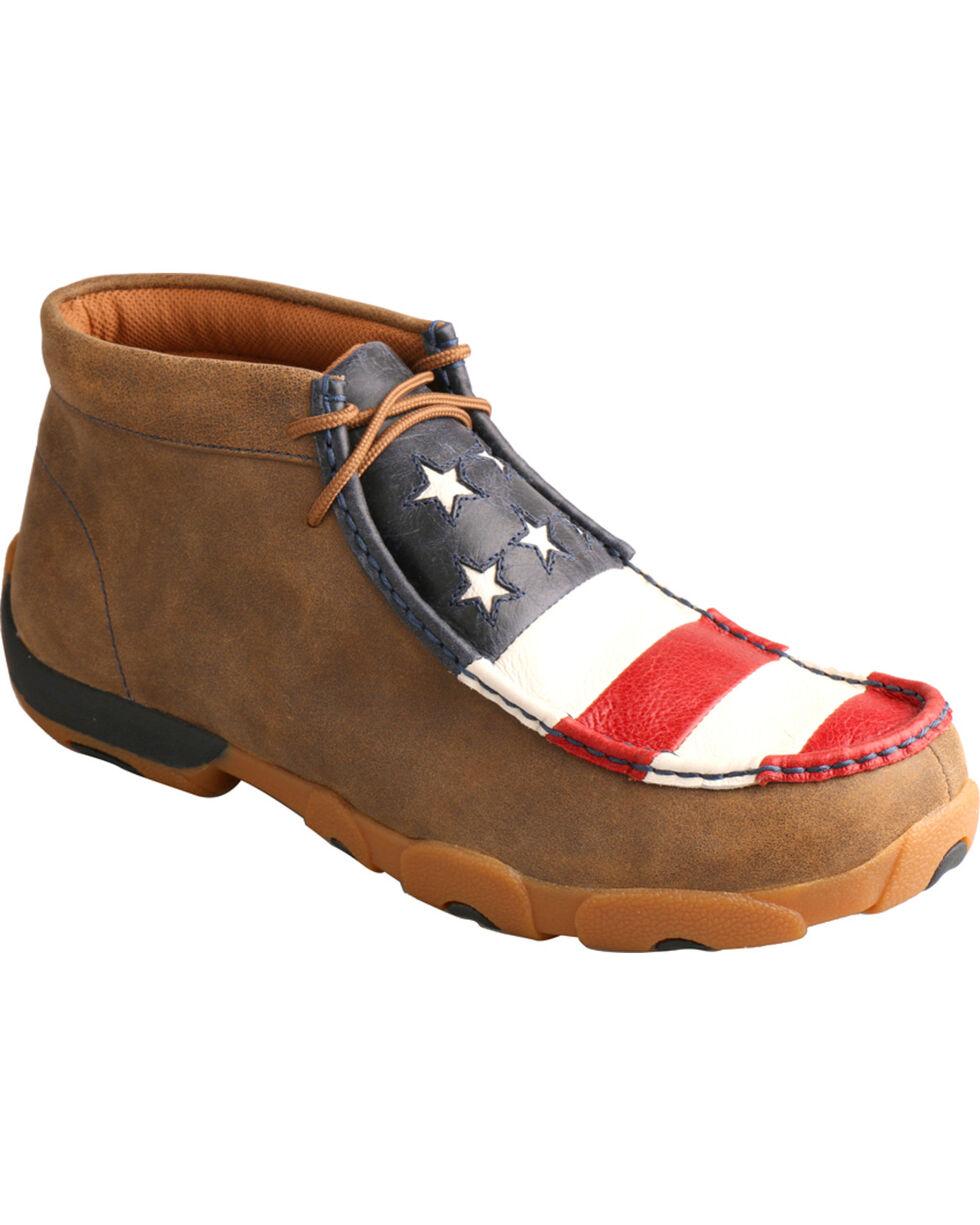 Twisted X Men's VFW American Flag Moc Toe Driving Shoes, Bomber, hi-res