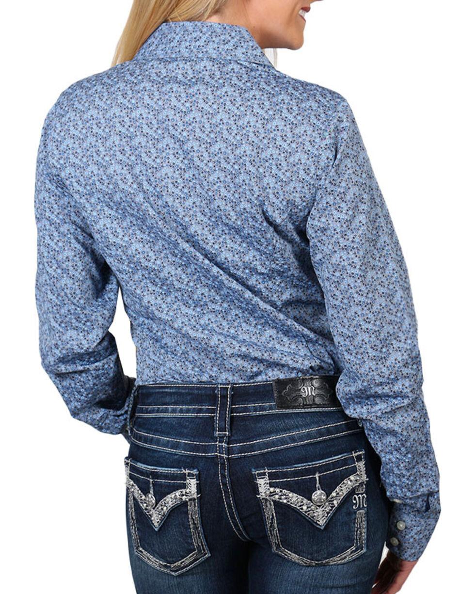 Shyanne® Women's Floral Printed Long Sleeve Shirt, Blue, hi-res