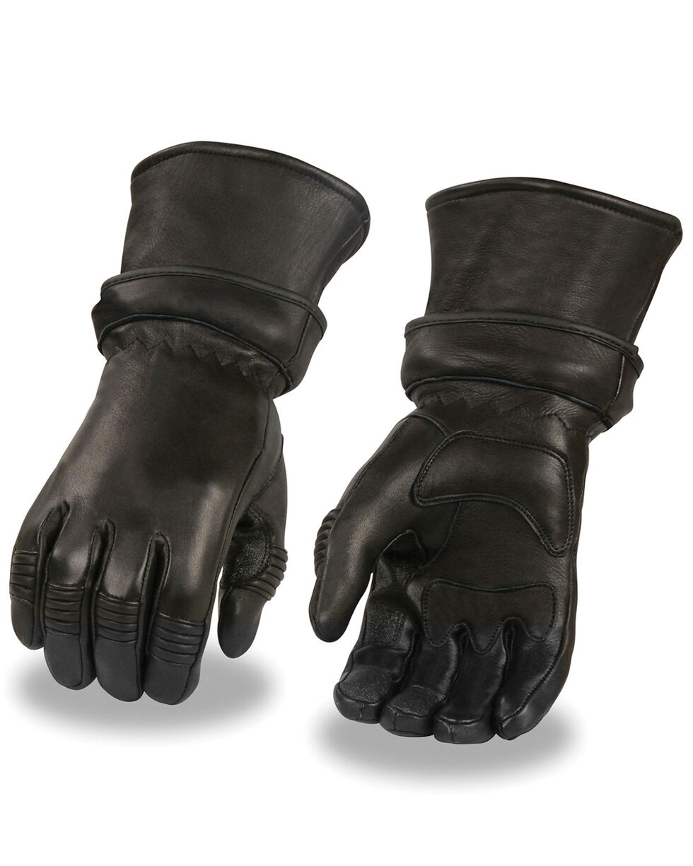 Milwaukee Leather Men's Gel Palm Deerskin Gauntlet Gloves, Black, hi-res