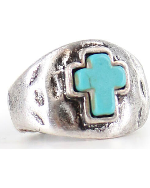 Shyanne® Women's Antiqued Cross Ring , Silver, hi-res