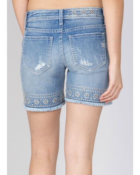 Miss Me Women's Light Indigo Studded Shorts , Indigo, hi-res
