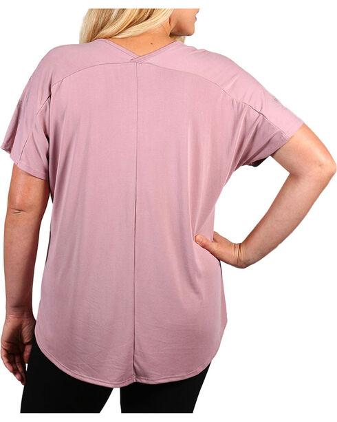 Vocal Women's Plus Rhinestone Fleur-de-lis Short Sleeve Top, Pink, hi-res
