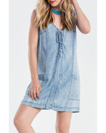 Miss Me Women's Indigo Denim Front Tie Sleeveless Dress, , hi-res