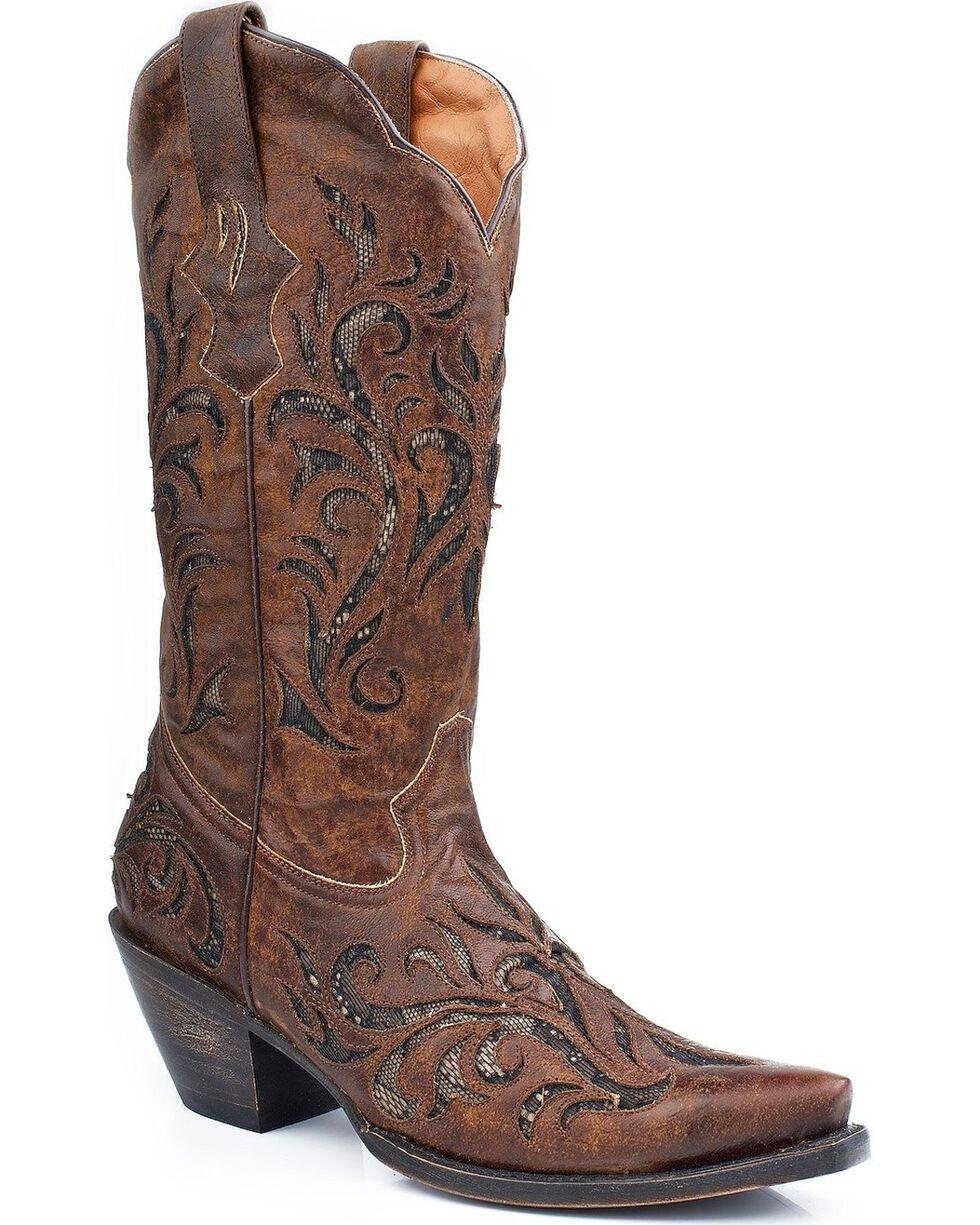 Stetson Women's Distressed Underlay Western Boots, Brown, hi-res