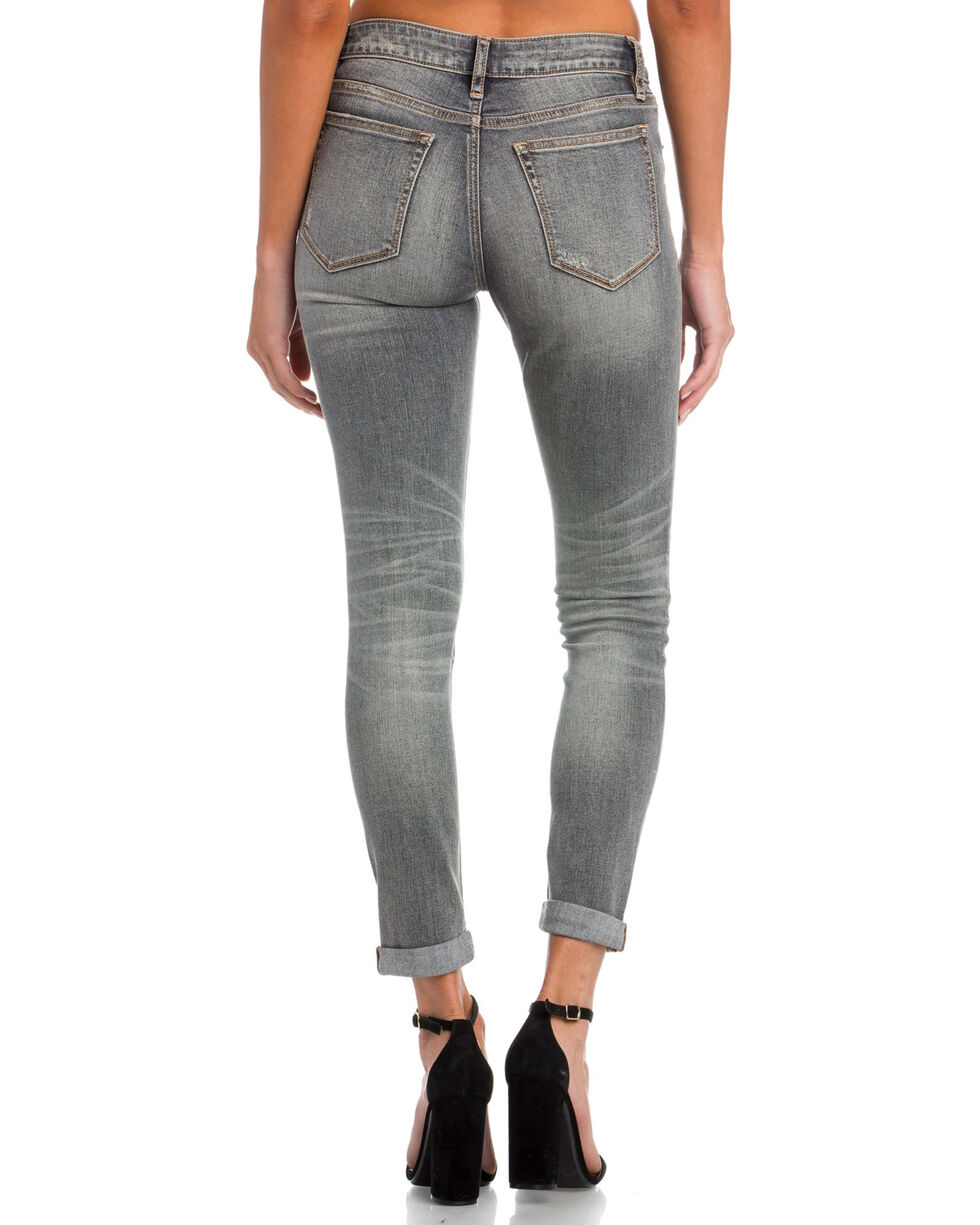 Miss Me Women's No Shade Mid-Rise Ankle Skinny Jeans , Grey, hi-res