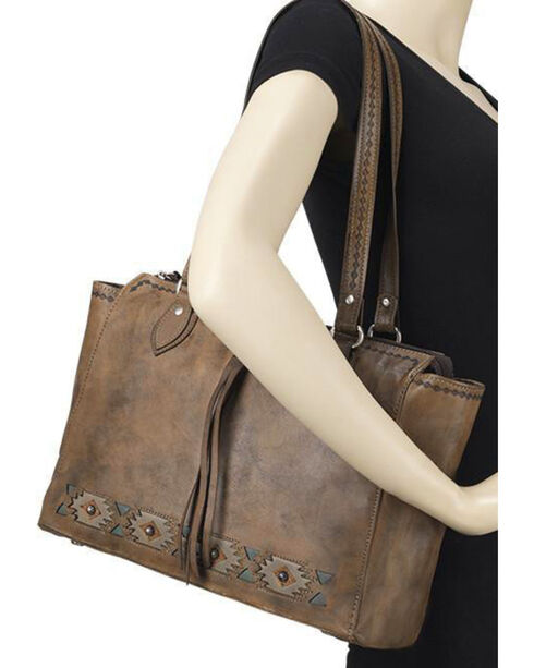 American West Women's Brown Native Sun Secret Compartment Tote , Distressed Brown, hi-res