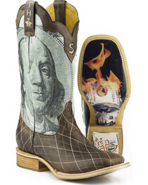 Tin Haul Men's Money to Burn with Hundred Dollar Bill Sole Cowboy Boots - Square Toe, , hi-res