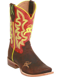 Twisted X Women's Red and Neon Yellow Hooey Cowgirl Boots - Square Toe, , hi-res