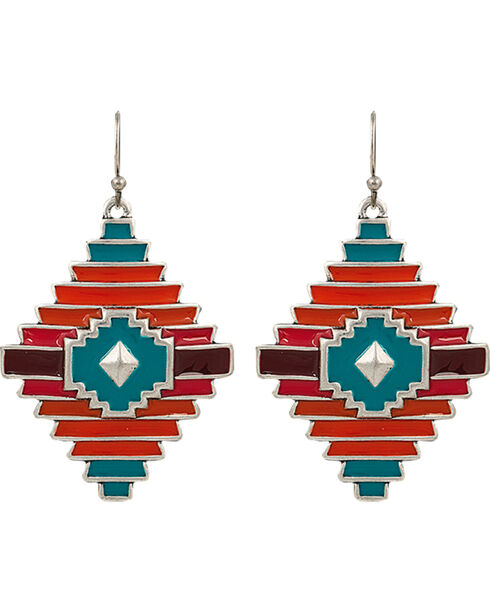 Rock 47 by Montana Silversmiths Points of Aztec Notched Diamond Shaped Earrings, Multi, hi-res
