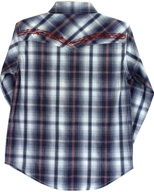Cowboy Hardware Boys' Barbed Wire Plaid Long Sleeve Shirt, Blue, hi-res