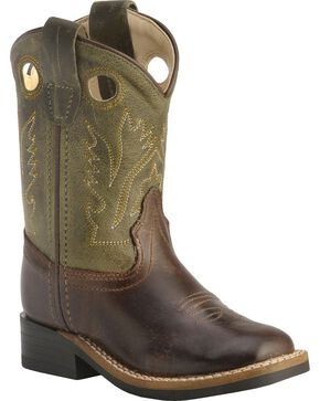Old West Toddler Boys' Stitched Olive Cowboy Boots - Square Toe, Barnwood, hi-res