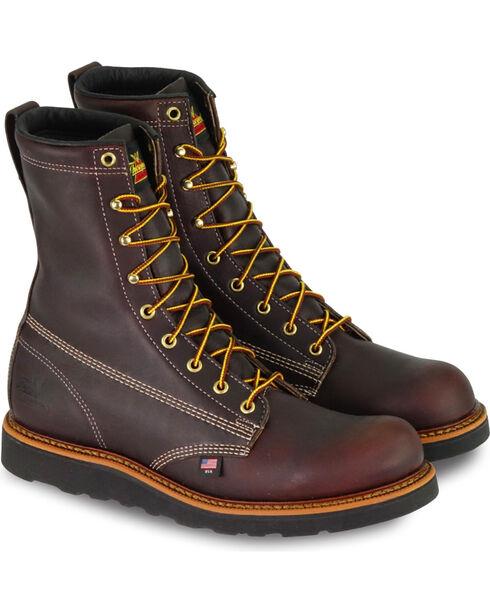 "Thorogood Men's 8"" American Heritage Wedge Sole Boot - Soft Toe, Dark Brown, hi-res"