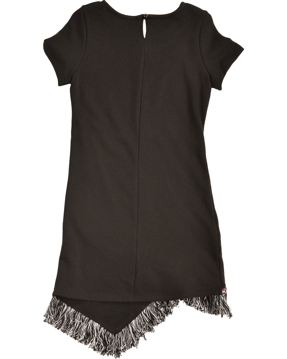 Shyanne Girls' Fringe Hem Short Sleeve Knit Dress, Black, hi-res