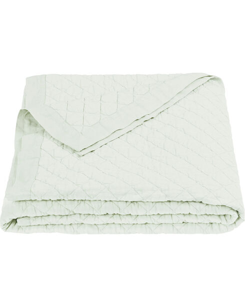 HiEnd Accents Diamond Pattern Seafoam Linen King Quilt, Green, hi-res