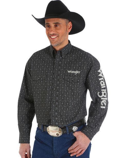 Wrangler Men's Black Printed Western Logo Shirt , Black, hi-res