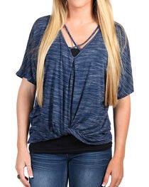 Moa Moa Women's Crisscross and Tie Front Short Sleeve Top, , hi-res