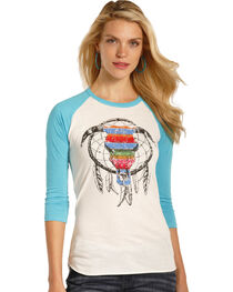Rock & Roll Cowgirl Women's Serape Steer Skull Baseball Tee , , hi-res