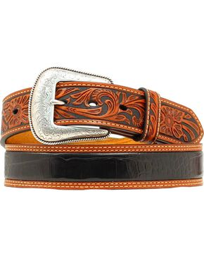 Nocona Gator Print Tooled Billet Western Belt, Black, hi-res
