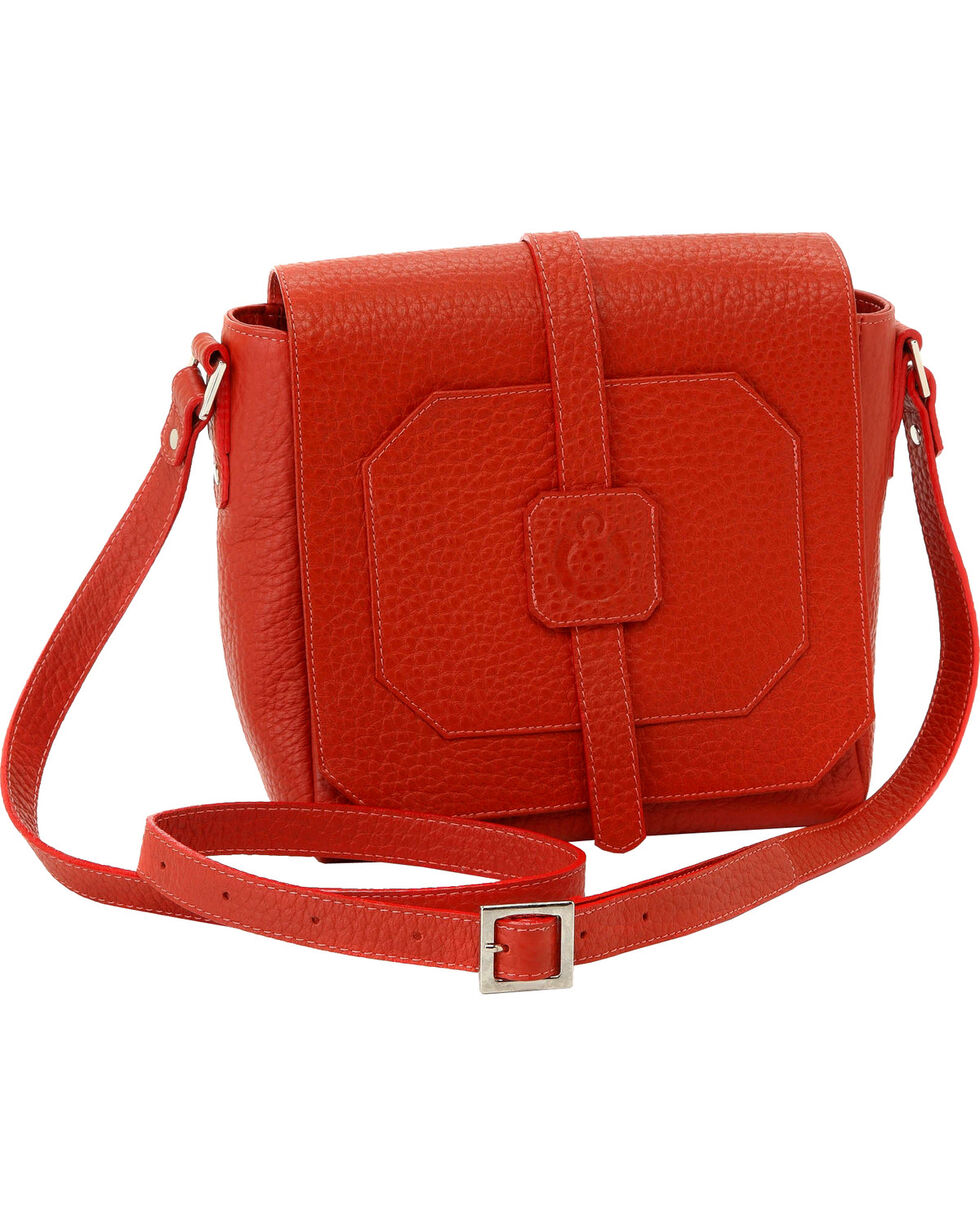 Designer Concealed Carry Burnt Orange Cubic Crossbody Bag, Orange, hi-res