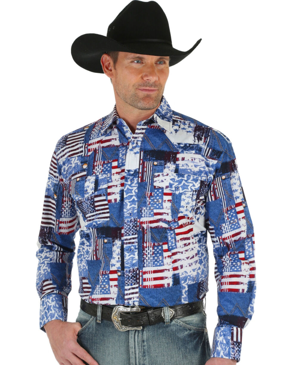 Wrangler Men's American Flag Checotah Western Shirt, Am Spirit, hi-res