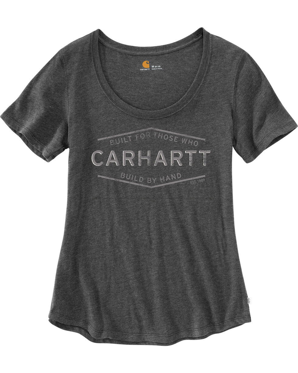 Carhartt Women's Lockhart Built By Hand Graphic Tee, Charcoal, hi-res