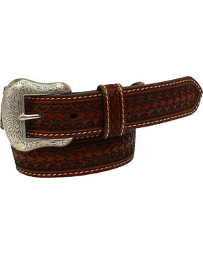 Nocona Belt Co. Boys' Rawhide Scalloped Lacing Conchos Western Belt, Tan, hi-res