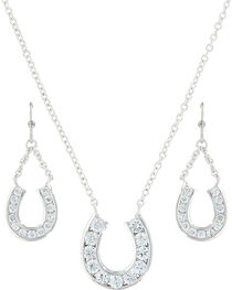 Montana Silversmiths Women's Hanging Horseshoe Basket Jewelry Set , , hi-res