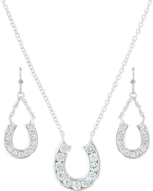 Montana Silversmiths Women's Hanging Horseshoe Basket Jewelry Set , Silver, hi-res