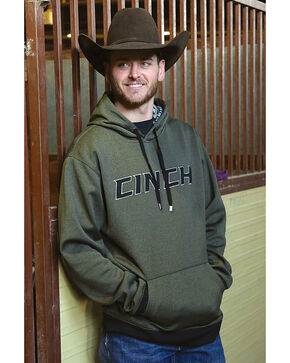 Cinch Men's Olive Heathered Tech Fleece Hoodie , Olive, hi-res