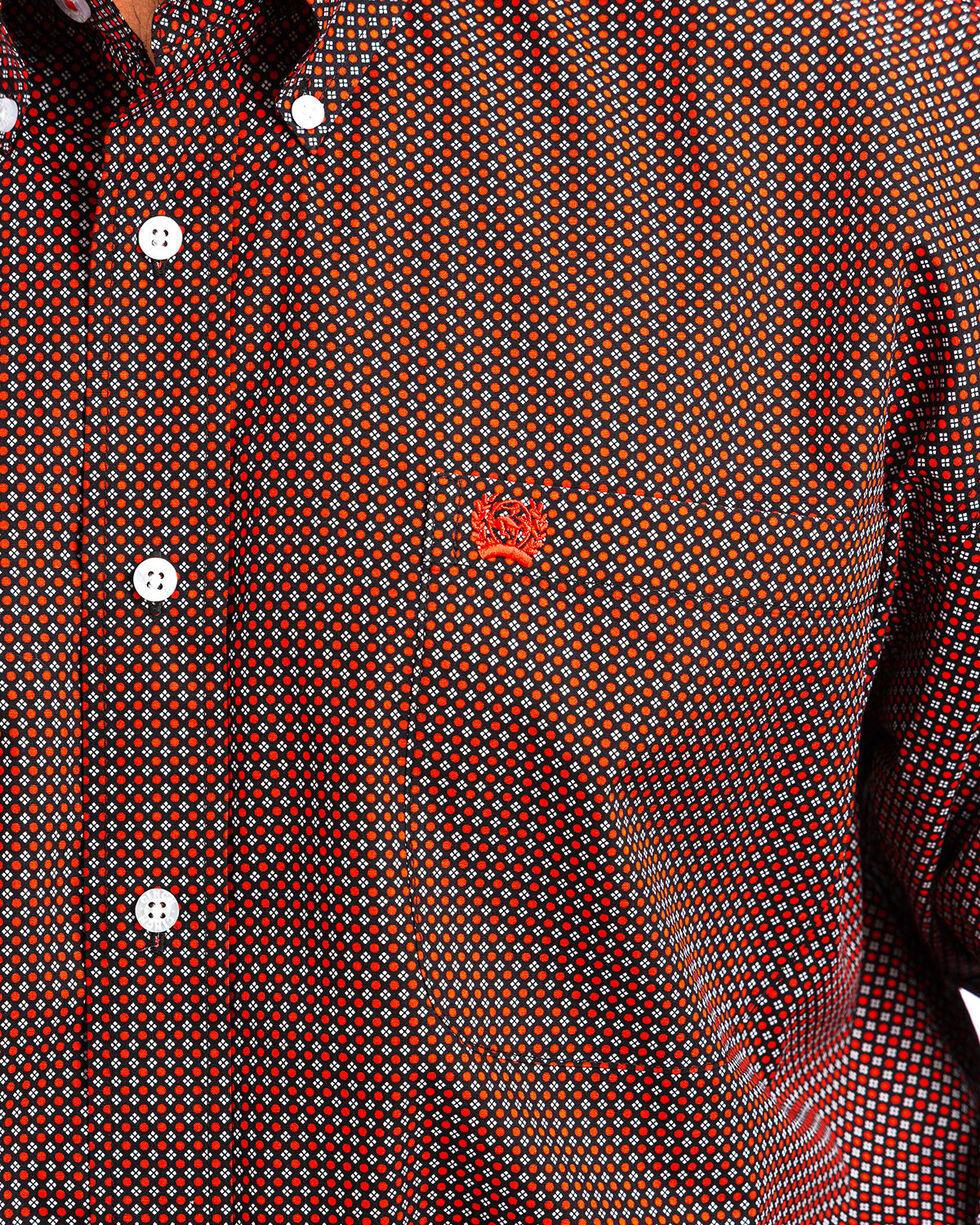 Cinch Men's Black & Red Dot Print Western Shirt , Black, hi-res