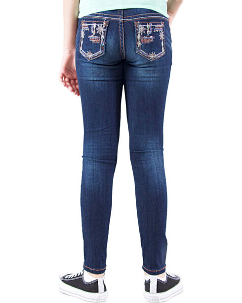 Grace in LA Girls' Dark Wash Floral Embellished Skinny Jeans , Indigo, hi-res
