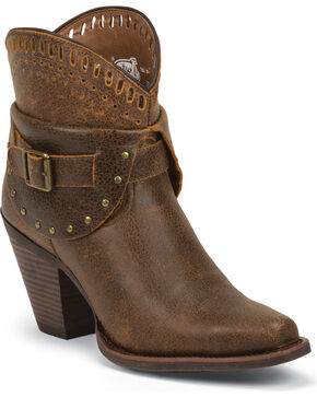 Justin Women's Cut-Out Western Booties, Rust, hi-res