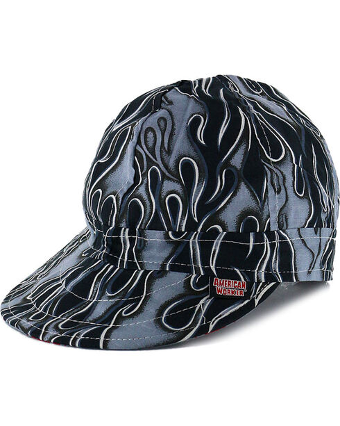 American Worker Men's Flames Welding Cap, Grey, hi-res