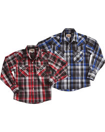 Ely Cattleman Boys' Lurex Plaid Assorted Long Sleeve Snap Shirt, , hi-res