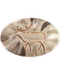 American Heritage Stainless Buckles Line Elk National Museum of Wildlife Belt Buckle, , hi-res