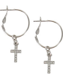 Shyanne® Women's Cross Hoop Earrings, , hi-res