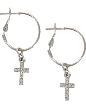 Shyanne® Women's Cross Hoop Earrings, Silver, hi-res