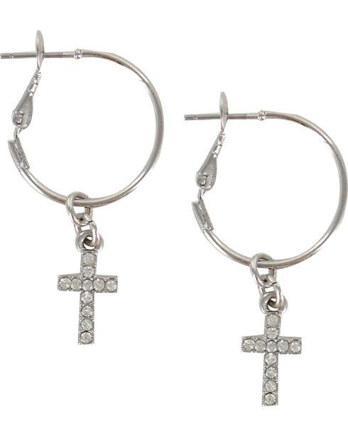 Shyanne® Women's Cross Hoop Earrings, Silver, hi-res