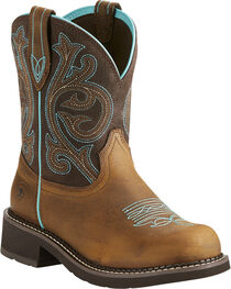 Ariat Fatbaby Women's Heritage Brown/Turquoise Cowgirl Boots - Round Toe, , hi-res