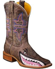 Tin Haul Women's Gnarly Pink Shark Western Boots, , hi-res