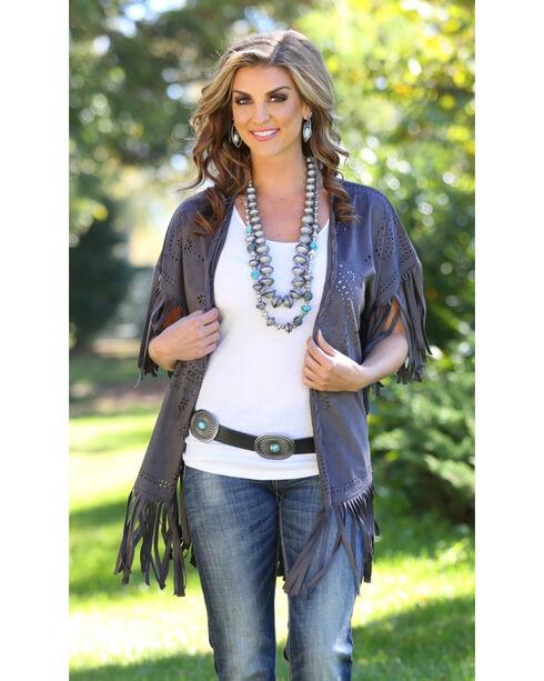 Wrangler Rock 47 Women's Faux Suede Laser Cut Kimono, Grey, hi-res
