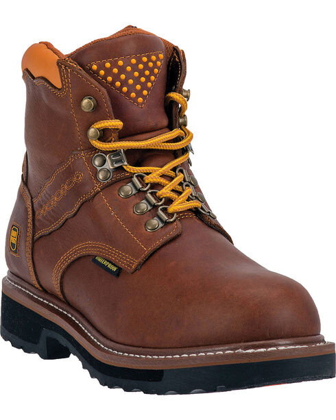 "Dan Post Men's Gripper Zipper Steel Toe 6"" Lace Up Work Boots, Brown, hi-res"