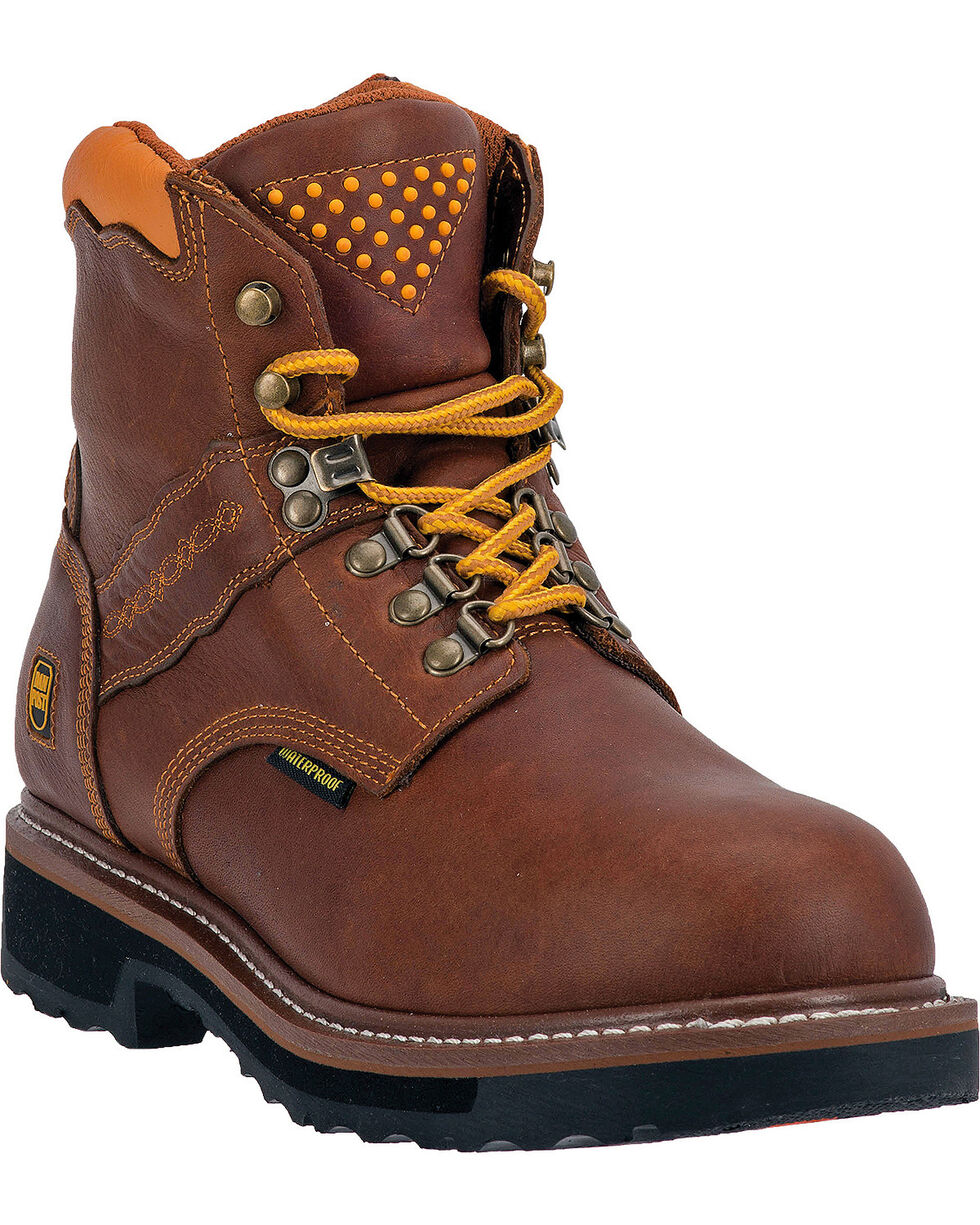 "Dan Post Men's Gripper Zipper Steel Toe 6"" Lace Up Work Boots, Brown, hi-res"