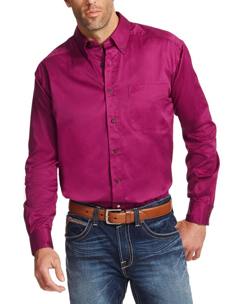 Ariat Men's Magenta Solid Twill Button Down Shirt, Magenta, hi-res