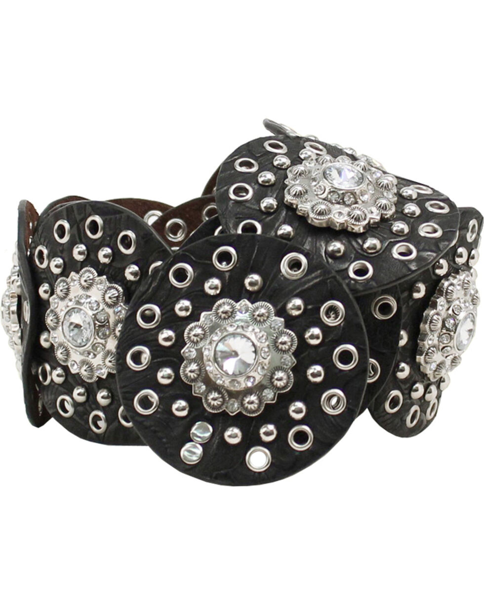 Nocona Women's Concho Waist Belt, Black, hi-res