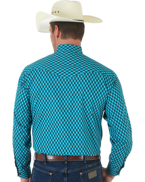 Wrangler Men's Western Geo Print Logo Long Sleeve Shirt, Teal, hi-res