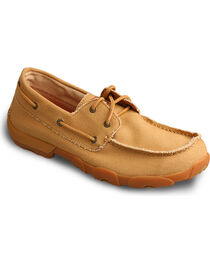 Twisted X Men's Canvas Driving Moc Boat Shoes, Tan, hi-res
