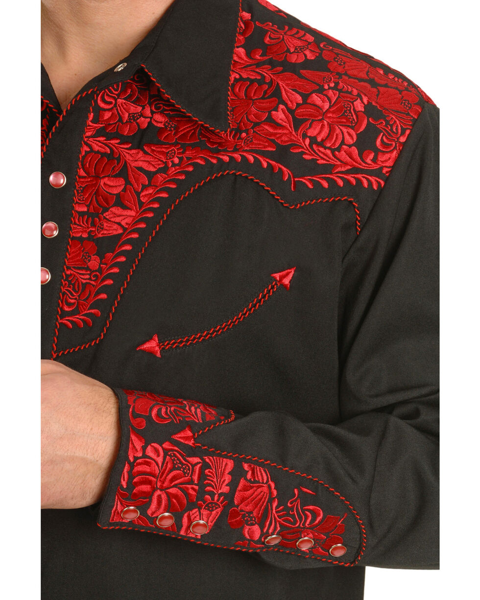 Scully Crimson Floral Embroidery Retro Western Shirt - Big & Tall, Dark Red, hi-res