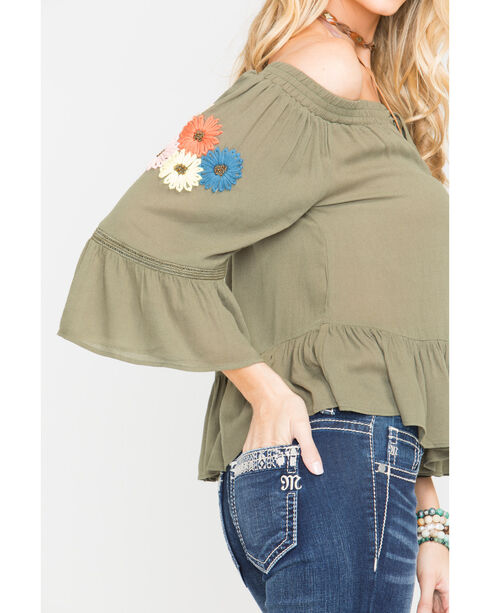 Miss Me Women's Floral Embroidered Off The Shoulder Top, Olive, hi-res